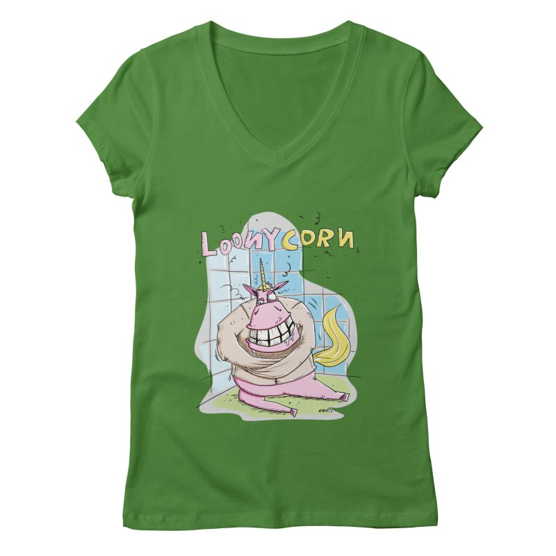 Loony Unicorn - Loonycorn Women's Regular V-Neck by Illustrated Madness