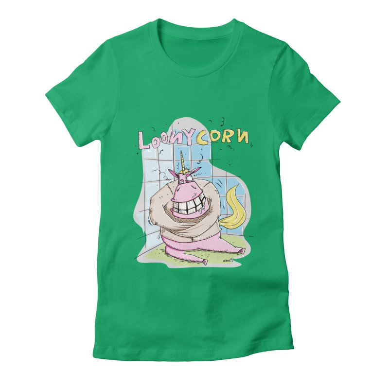 Loony Unicorn - Loonycorn Women's Fitted T-Shirt by Illustrated Madness