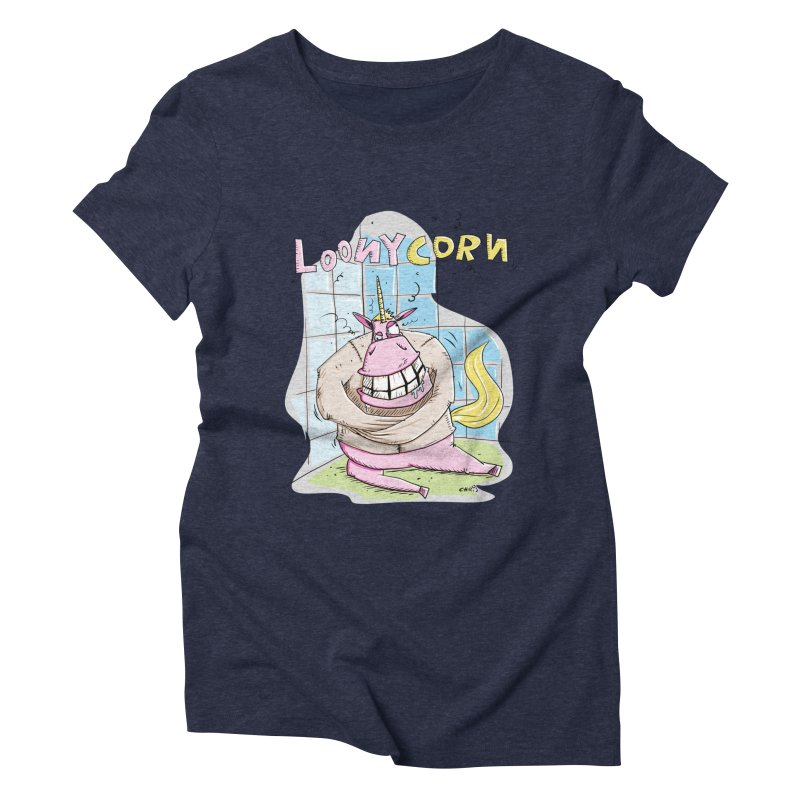 Loony Unicorn - Loonycorn Women's Triblend T-Shirt by Illustrated Madness