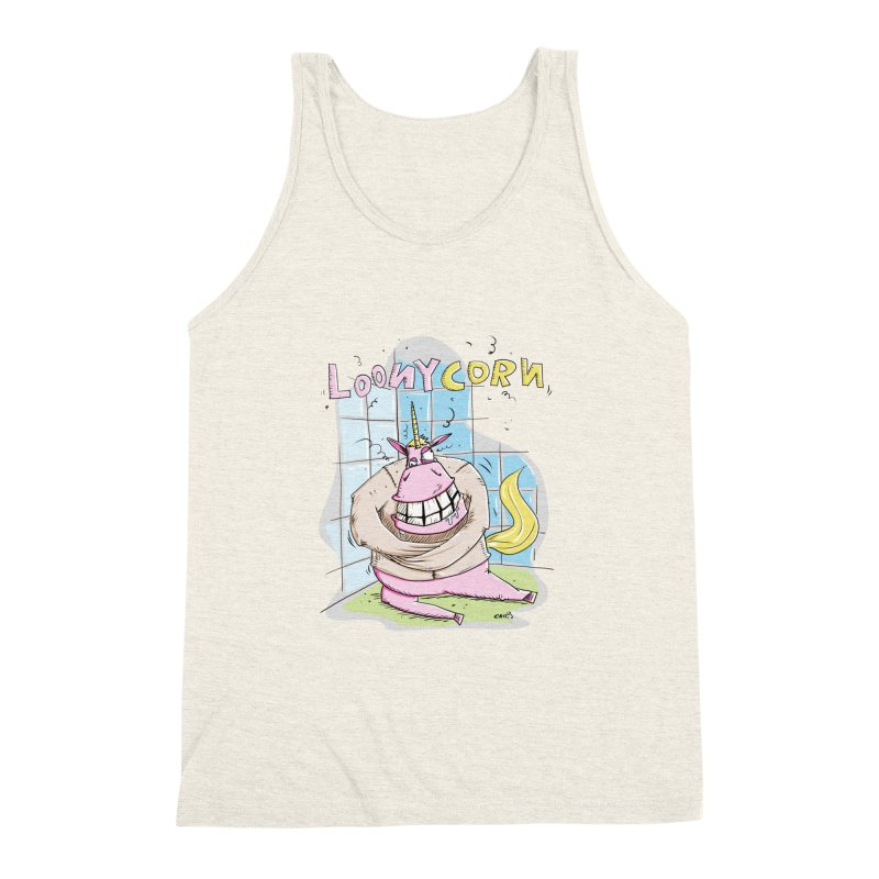 Loony Unicorn - Loonycorn Men's Triblend Tank by Illustrated Madness