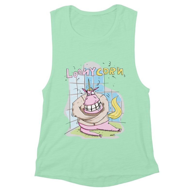 Loony Unicorn - Loonycorn Women's Muscle Tank by Illustrated Madness