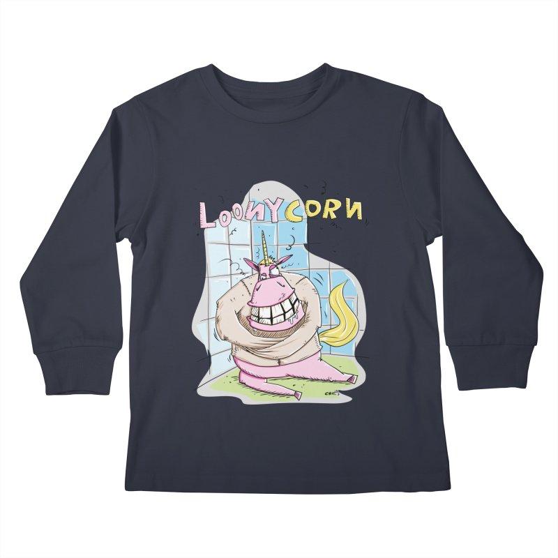 Loony Unicorn - Loonycorn Kids Longsleeve T-Shirt by Illustrated Madness
