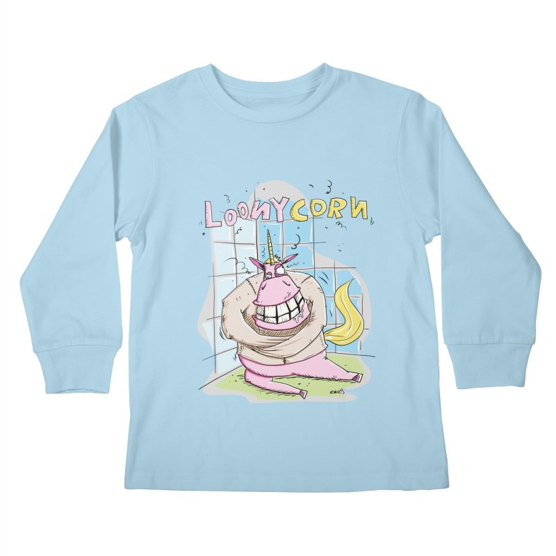 Loony Unicorn - Loonycorn Kids Longsleeve T-Shirt by Illustrated Madness