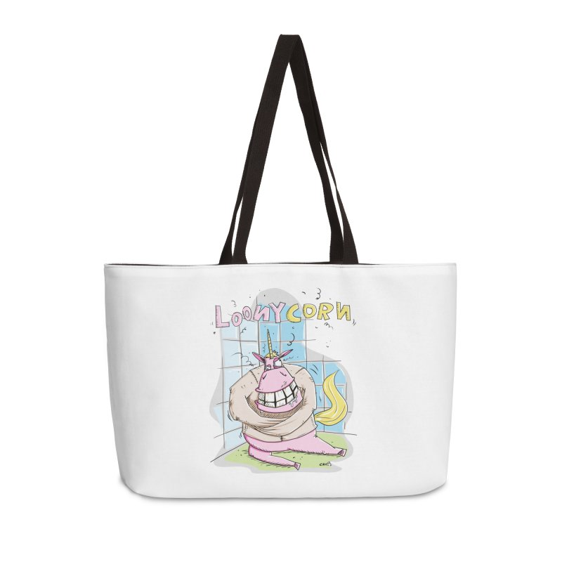 Loony Unicorn - Loonycorn Accessories Weekender Bag Bag by Illustrated Madness