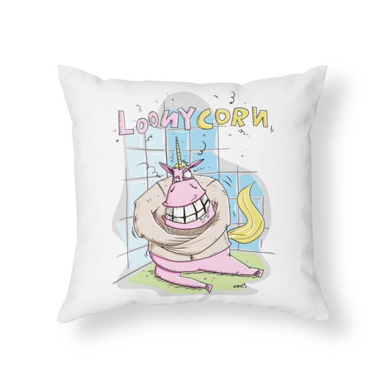 Loony Unicorn - Loonycorn Home Throw Pillow by Illustrated Madness