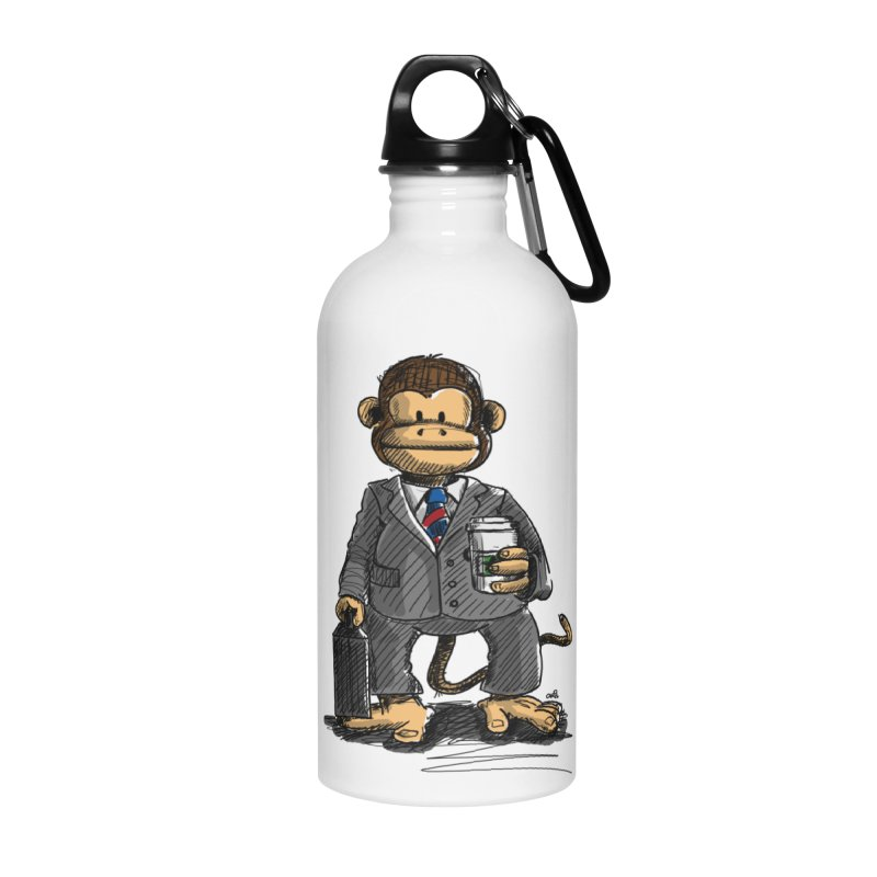 The Business Monkey drinks a Coffee to go Accessories Water Bottle by Illustrated Madness