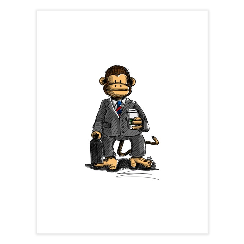 The Business Monkey drinks a Coffee to go Home Fine Art Print by Illustrated Madness