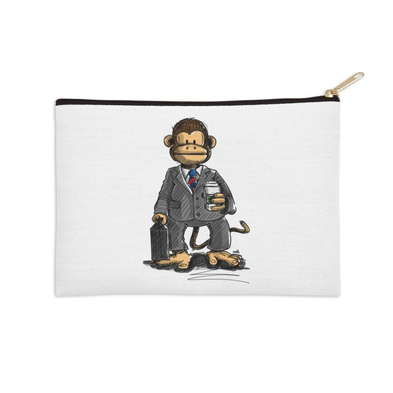 The Business Monkey drinks a Coffee to go Accessories Zip Pouch by Illustrated Madness