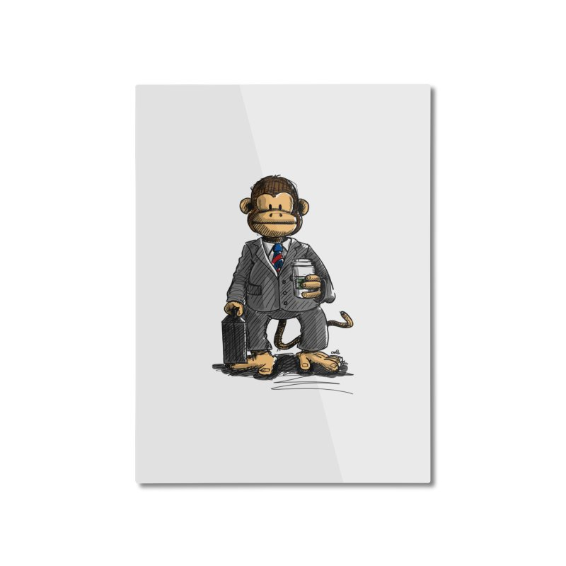 The Business Monkey drinks a Coffee to go Home Mounted Aluminum Print by Illustrated Madness
