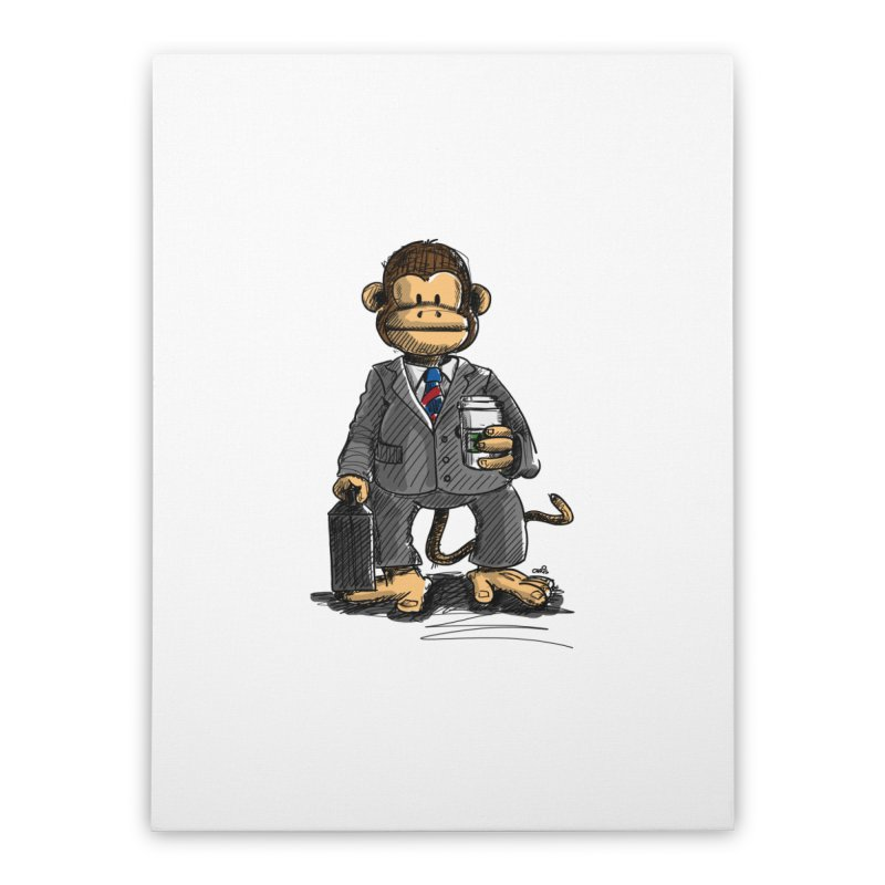 The Business Monkey drinks a Coffee to go Home Stretched Canvas by Illustrated Madness