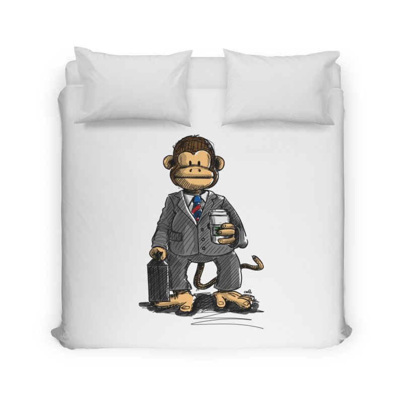 The Business Monkey drinks a Coffee to go Home Duvet by Illustrated Madness
