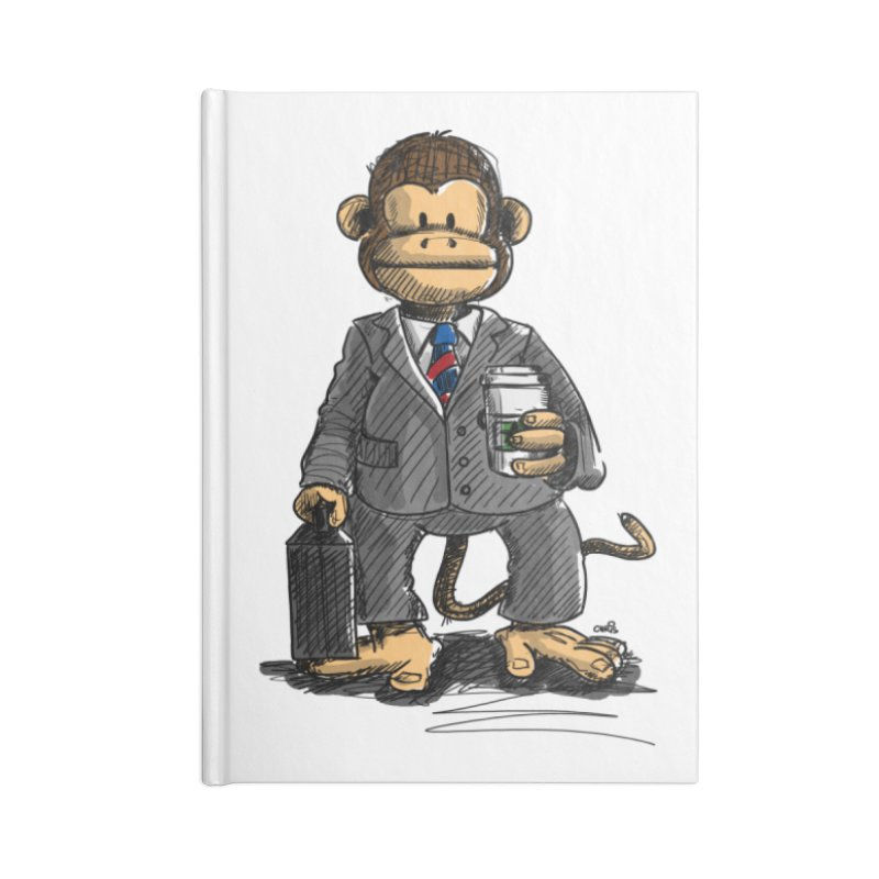 The Business Monkey drinks a Coffee to go Accessories Notebook by Illustrated Madness