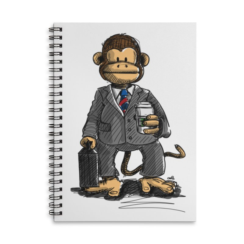 The Business Monkey drinks a Coffee to go Accessories Lined Spiral Notebook by Illustrated Madness