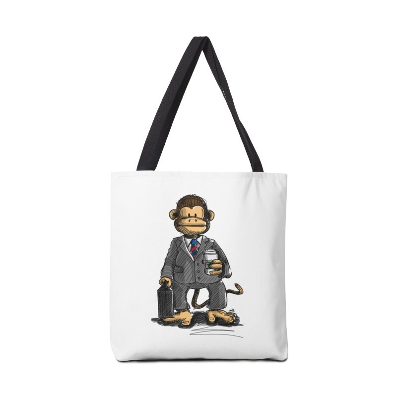 The Business Monkey drinks a Coffee to go Accessories Tote Bag Bag by Illustrated Madness