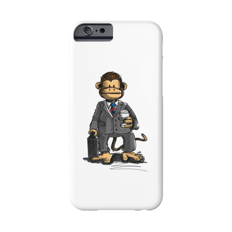 The Business Monkey drinks a Coffee to go Accessories Phone Case by Illustrated Madness