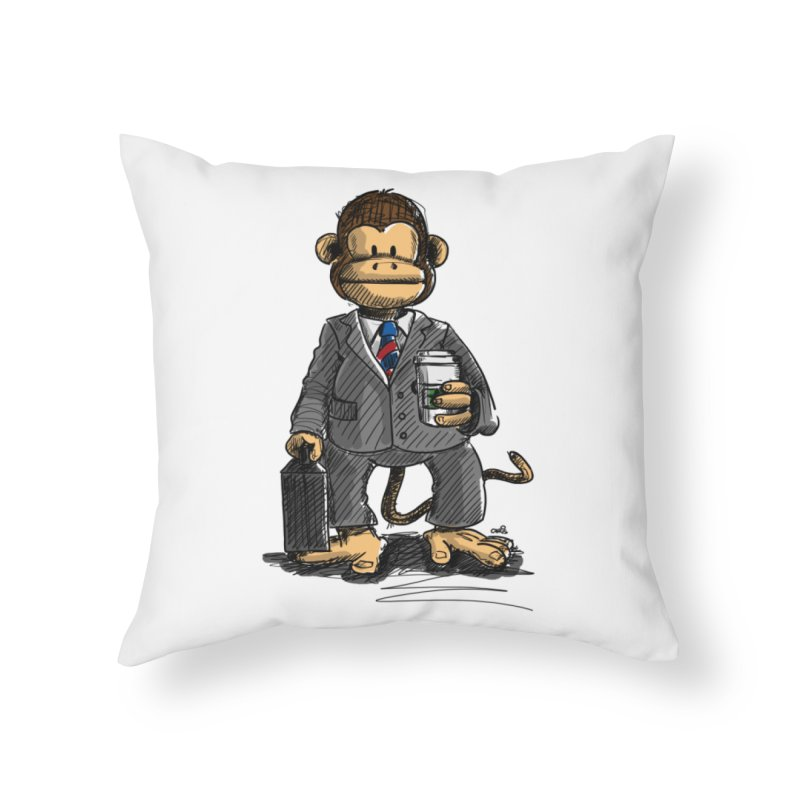 The Business Monkey drinks a Coffee to go Home Throw Pillow by Illustrated Madness