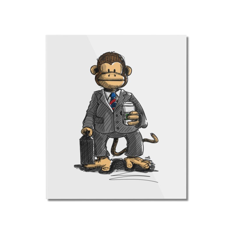 The Business Monkey drinks a Coffee to go Home Mounted Acrylic Print by Illustrated Madness