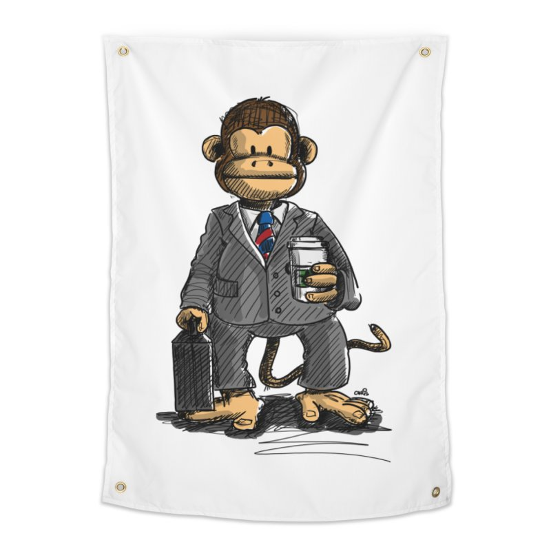 The Business Monkey drinks a Coffee to go Home Tapestry by Illustrated Madness