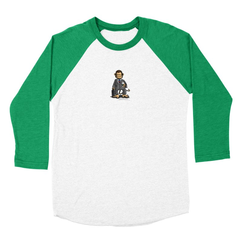 The Business Monkey drinks a Coffee to go Women's Baseball Triblend Longsleeve T-Shirt by Illustrated Madness