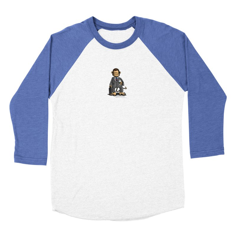 The Business Monkey drinks a Coffee to go Men's Baseball Triblend Longsleeve T-Shirt by Illustrated Madness