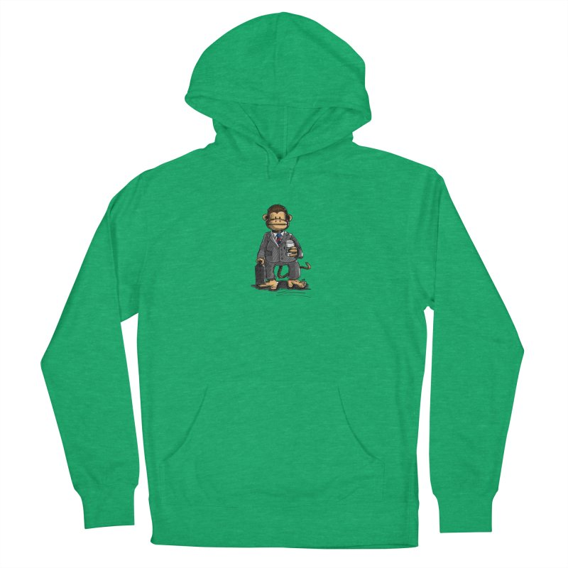 The Business Monkey drinks a Coffee to go Women's French Terry Pullover Hoody by Illustrated Madness