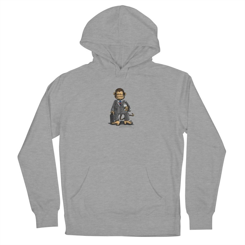 The Business Monkey drinks a Coffee to go Men's French Terry Pullover Hoody by Illustrated Madness