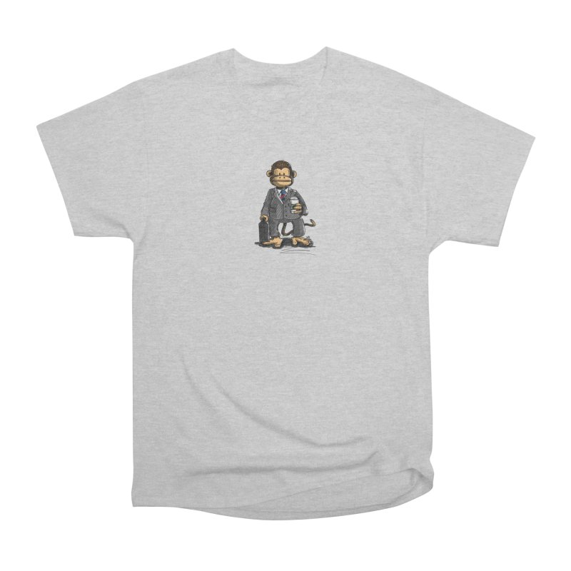 The Business Monkey drinks a Coffee to go Women's Heavyweight Unisex T-Shirt by Illustrated Madness