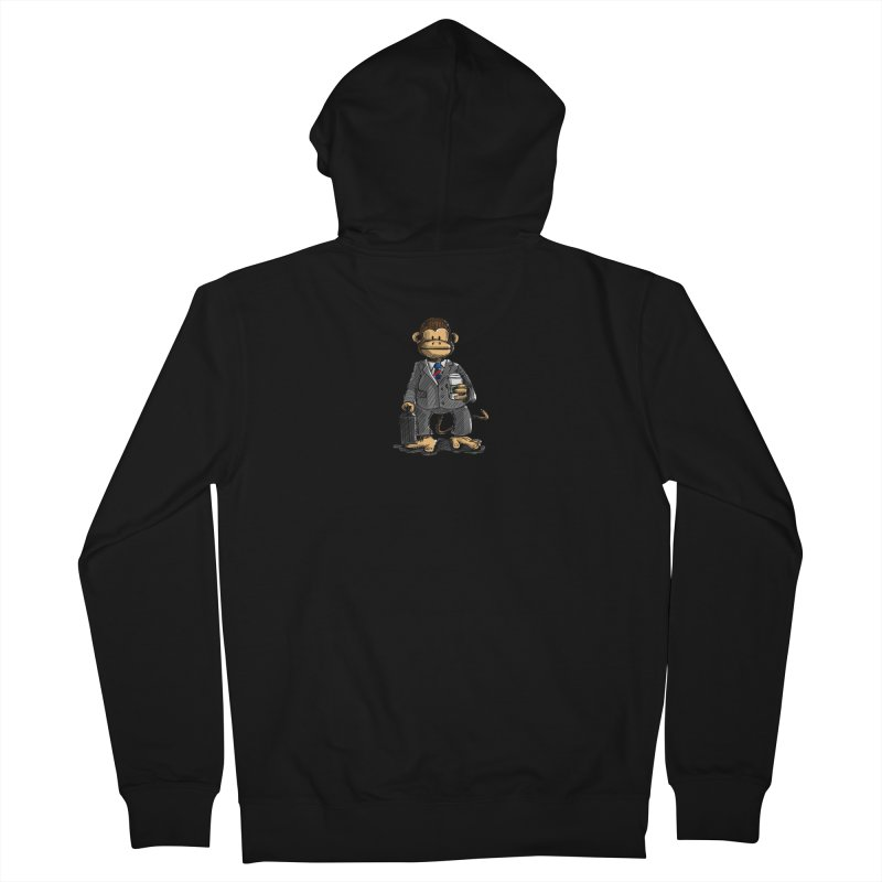 The Business Monkey drinks a Coffee to go Women's French Terry Zip-Up Hoody by Illustrated Madness