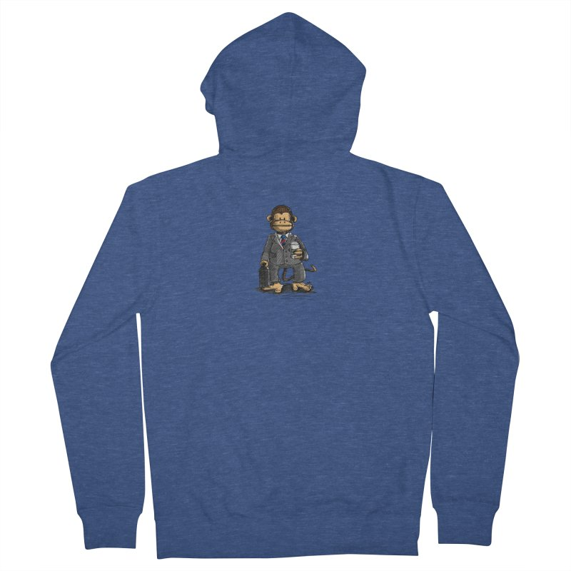 The Business Monkey drinks a Coffee to go Men's French Terry Zip-Up Hoody by Illustrated Madness