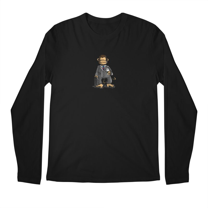The Business Monkey drinks a Coffee to go Men's Longsleeve T-Shirt by Illustrated Madness