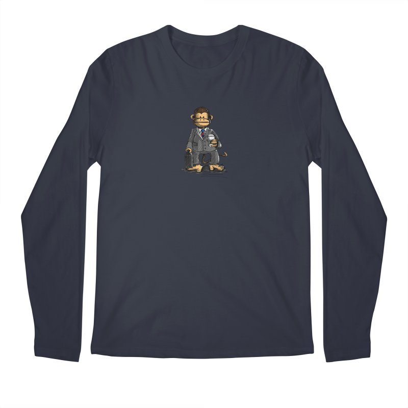 The Business Monkey drinks a Coffee to go Men's Regular Longsleeve T-Shirt by Illustrated Madness