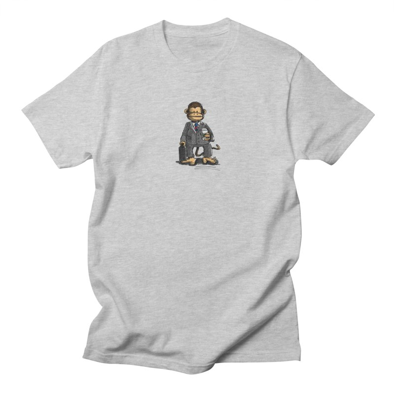 The Business Monkey drinks a Coffee to go Women's Regular Unisex T-Shirt by Illustrated Madness
