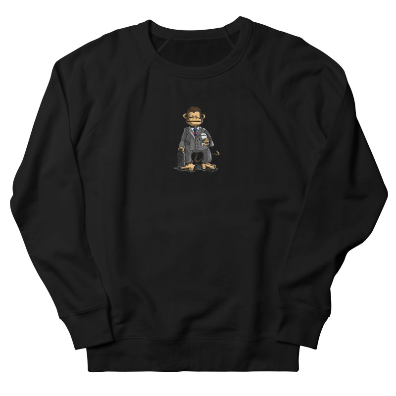 The Business Monkey drinks a Coffee to go Women's French Terry Sweatshirt by Illustrated Madness