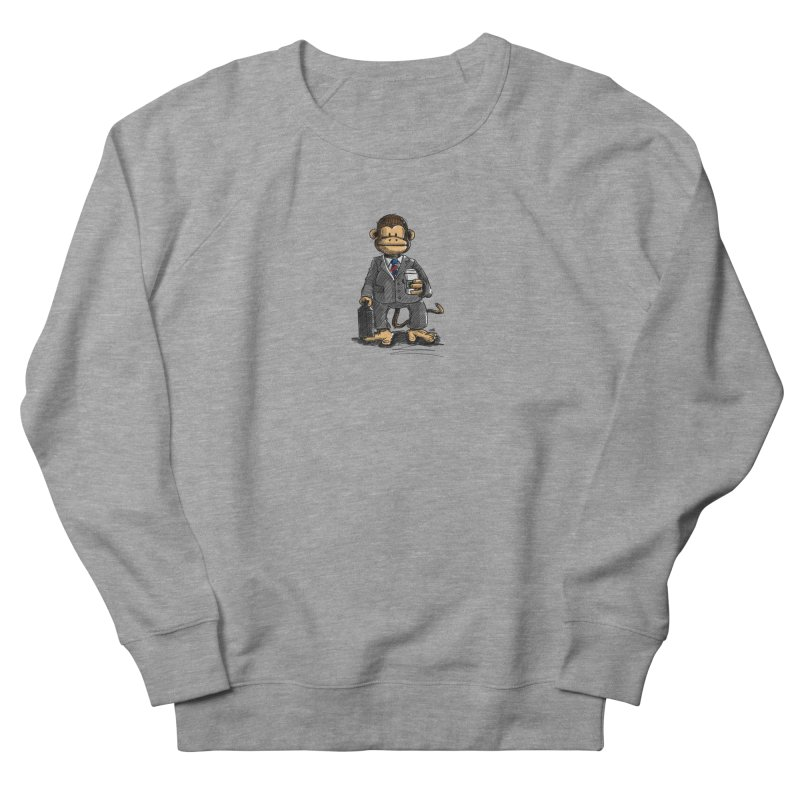 The Business Monkey drinks a Coffee to go Men's French Terry Sweatshirt by Illustrated Madness