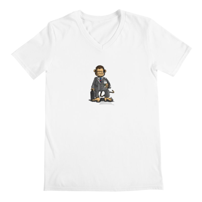 The Business Monkey drinks a Coffee to go Men's V-Neck by Illustrated Madness