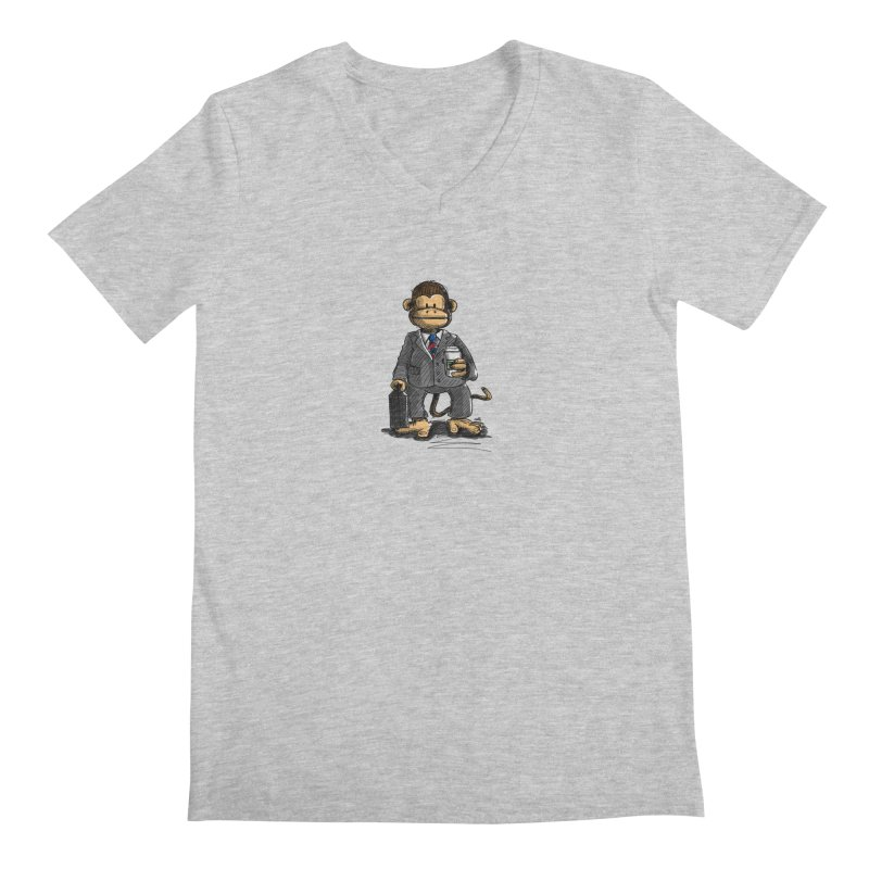 The Business Monkey drinks a Coffee to go Men's Regular V-Neck by Illustrated Madness