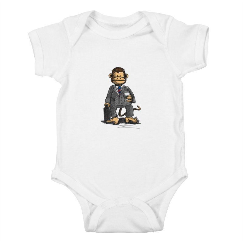 The Business Monkey drinks a Coffee to go Kids Baby Bodysuit by Illustrated Madness