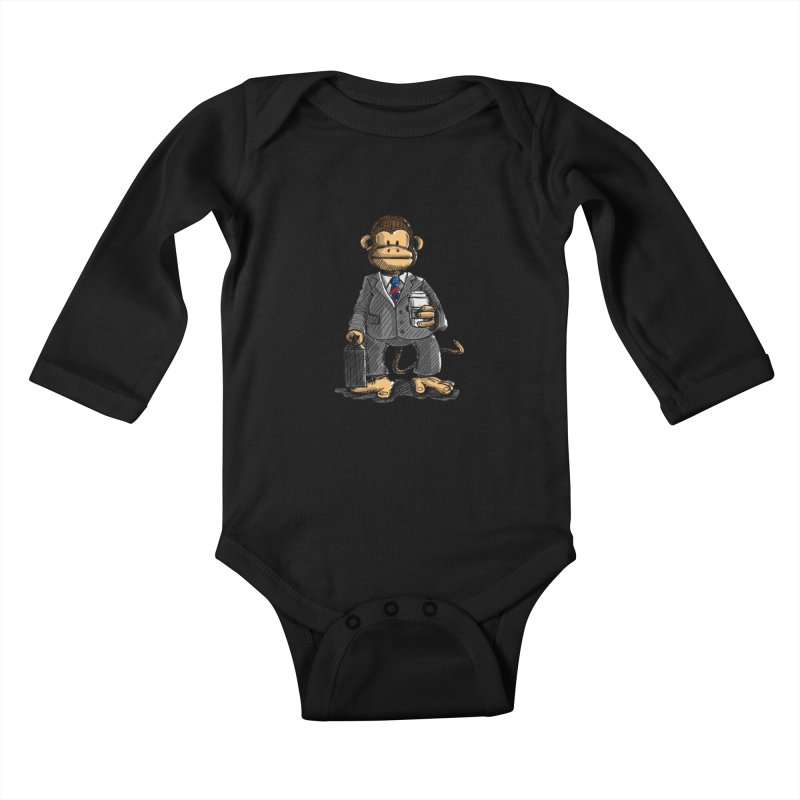 The Business Monkey drinks a Coffee to go Kids Baby Longsleeve Bodysuit by Illustrated Madness
