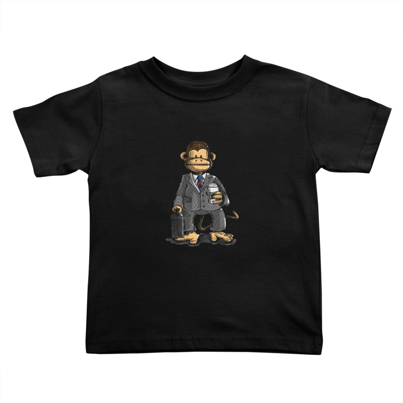 The Business Monkey drinks a Coffee to go Kids Toddler T-Shirt by Illustrated Madness