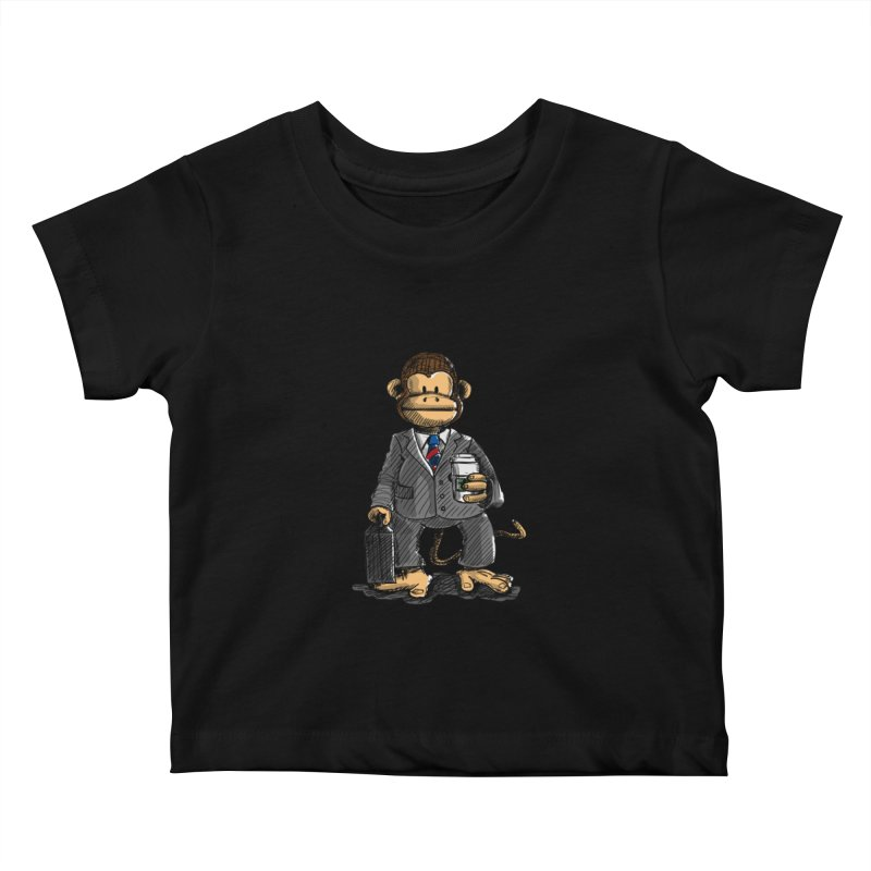 The Business Monkey drinks a Coffee to go Kids Baby T-Shirt by Illustrated Madness