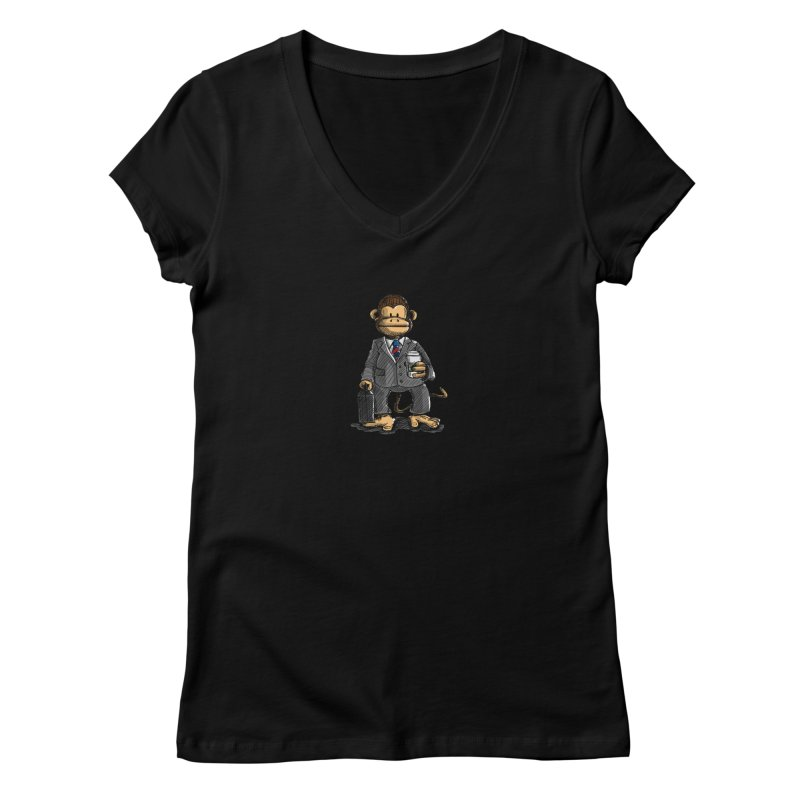 The Business Monkey drinks a Coffee to go Women's V-Neck by Illustrated Madness