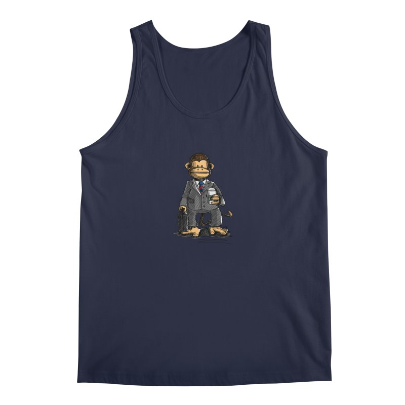 The Business Monkey drinks a Coffee to go Men's Tank by Illustrated Madness