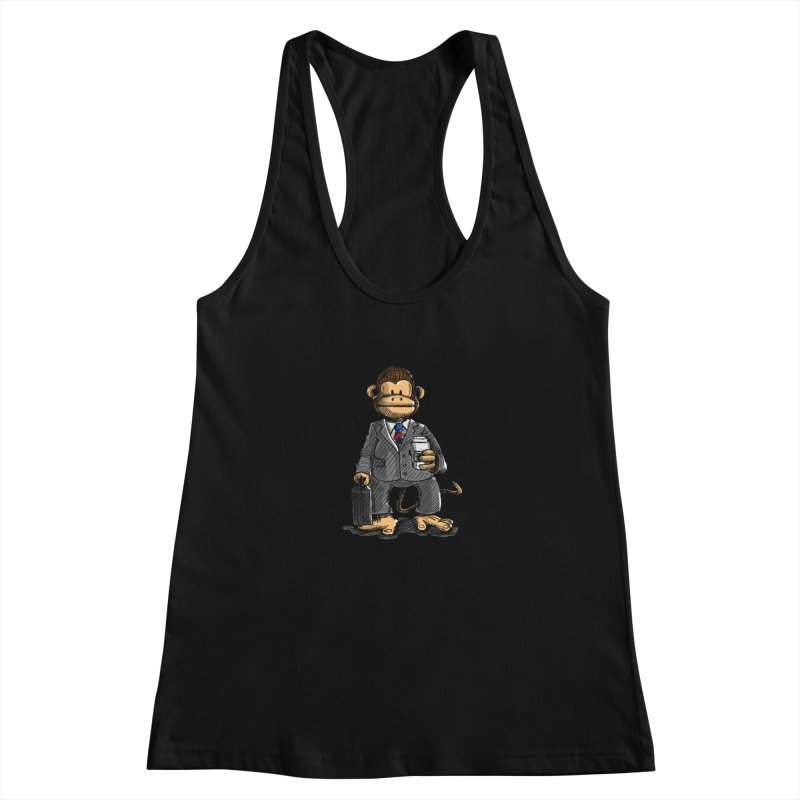 The Business Monkey drinks a Coffee to go Women's Tank by Illustrated Madness