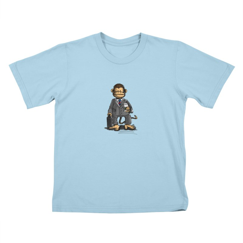 The Business Monkey drinks a Coffee to go Kids T-Shirt by Illustrated Madness