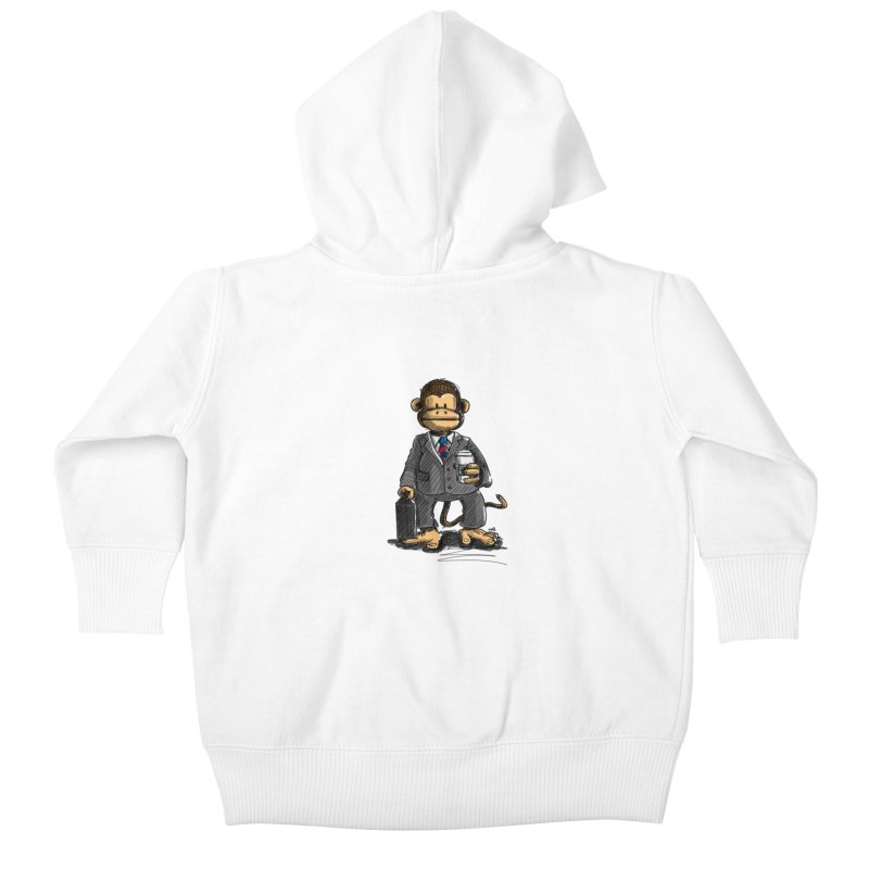 The Business Monkey drinks a Coffee to go Kids Baby Zip-Up Hoody by Illustrated Madness