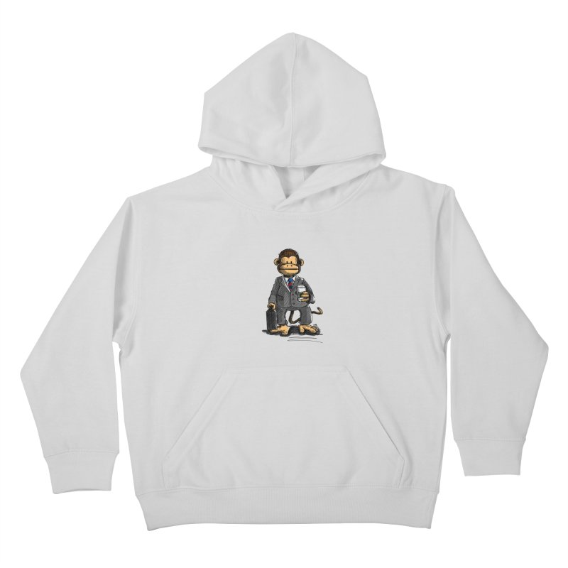 The Business Monkey drinks a Coffee to go Kids Pullover Hoody by Illustrated Madness