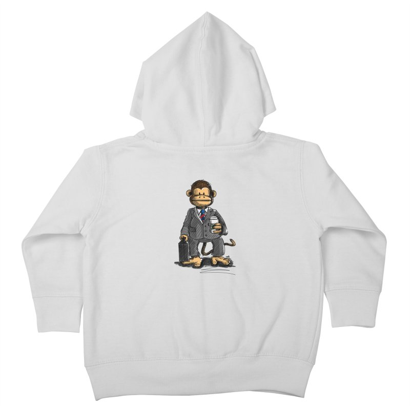 The Business Monkey drinks a Coffee to go Kids Toddler Zip-Up Hoody by Illustrated Madness