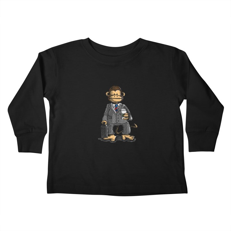 The Business Monkey drinks a Coffee to go Kids Toddler Longsleeve T-Shirt by Illustrated Madness