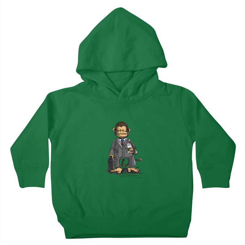 The Business Monkey drinks a Coffee to go Kids Toddler Pullover Hoody by Illustrated Madness