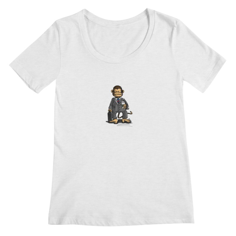 The Business Monkey drinks a Coffee to go Women's Regular Scoop Neck by Illustrated Madness